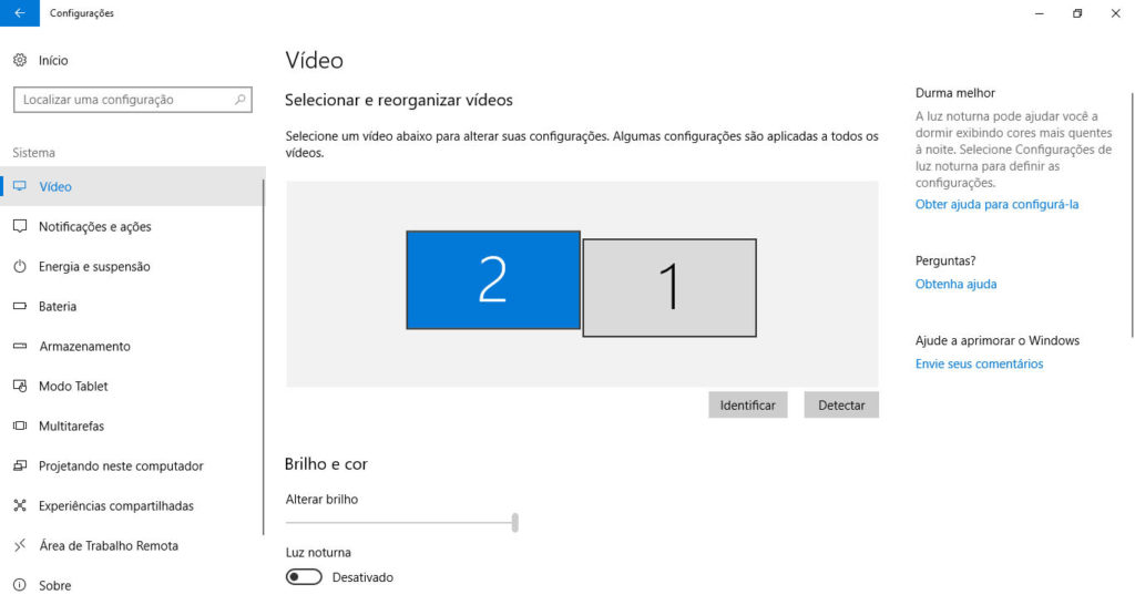 Configurações de vídeo do Windows.