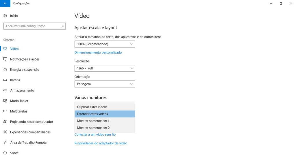 COnfigurações de vídeo: estender telas.