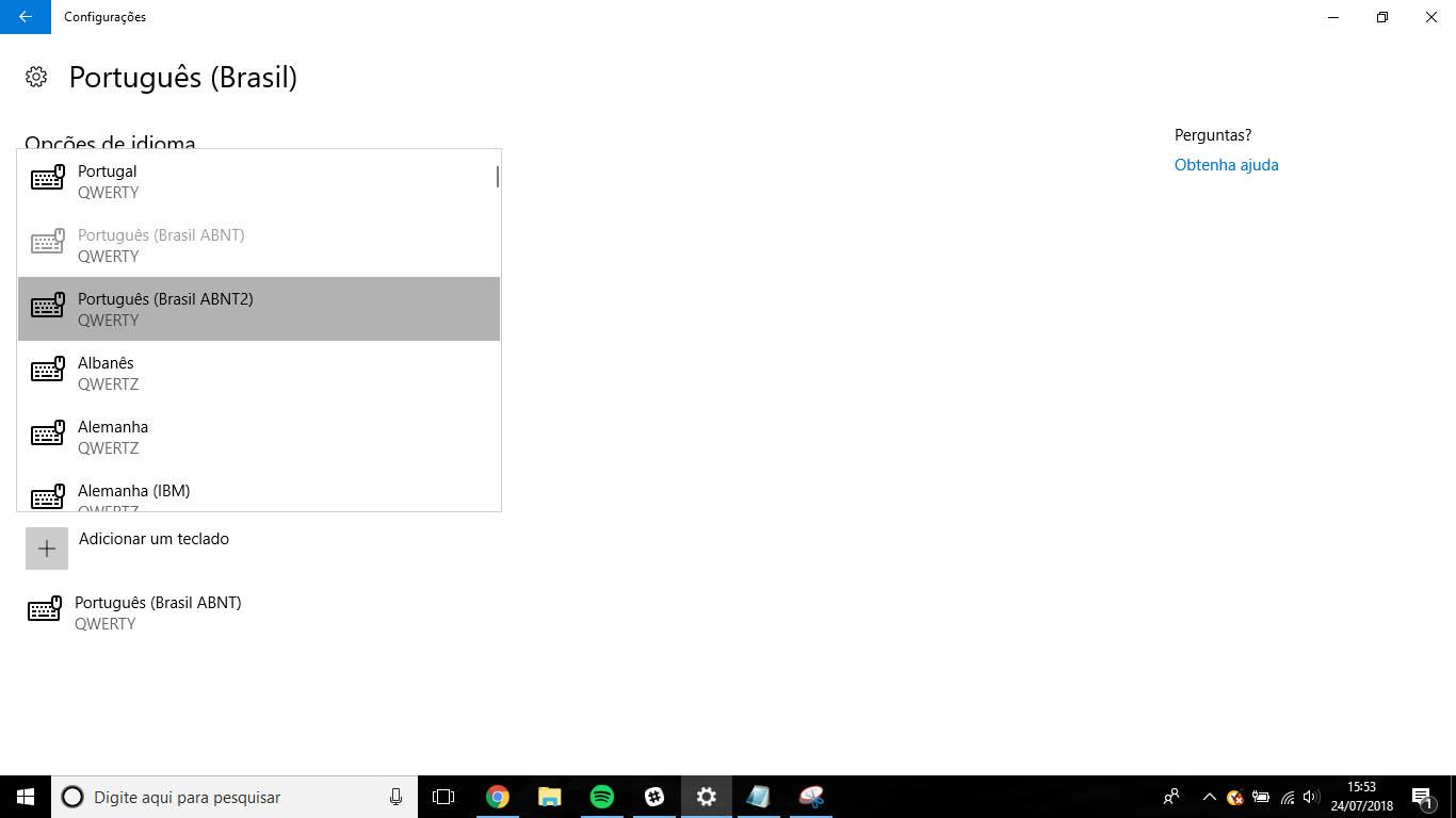 Configurar o teclado no Windows 10: configurações