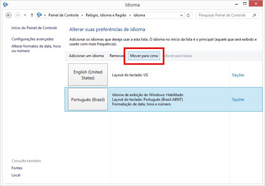 configurar o teclado para portugues brasil (abnt2) no windows 7