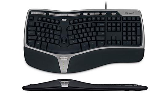 Modelo de teclado ergonômico. Imagem: reprodução | Microsoft.