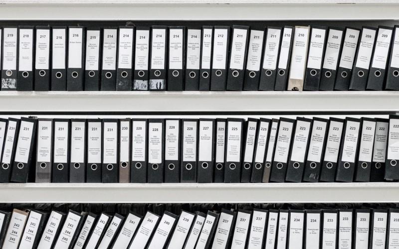 Arquivo de documentos físicos.
