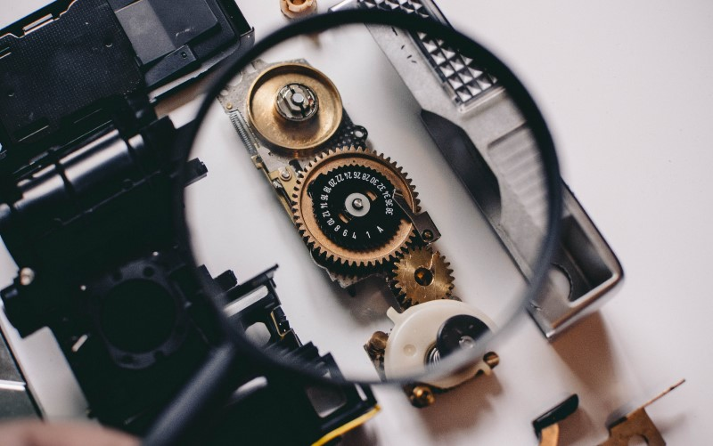 Detalhe de um equipamento desmontado.