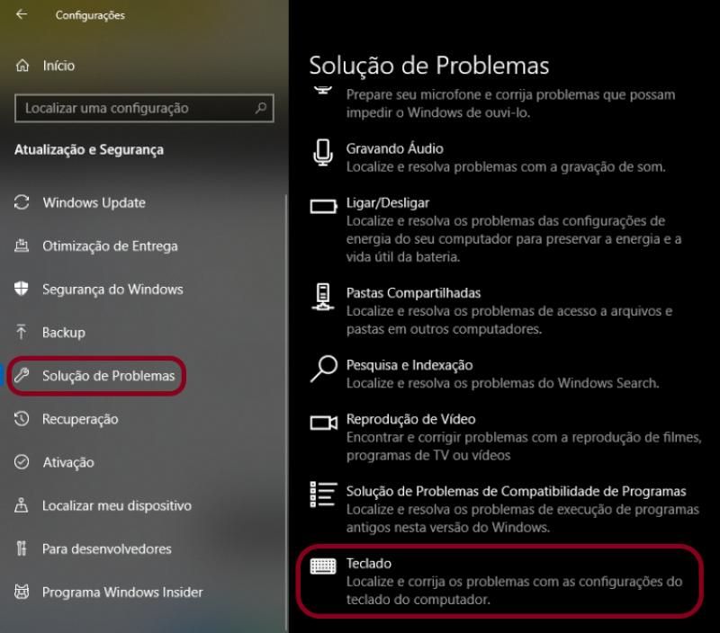 Tela de Solução de Problemas do Windows.