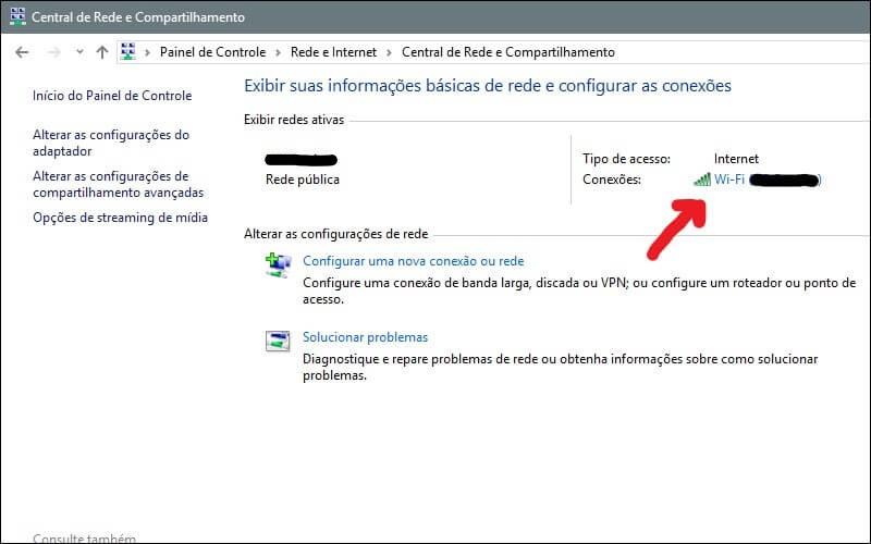 Screenshot da tela de conexões do Windows.