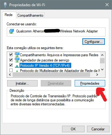 Screenshot da tela de propriedades de conexão.