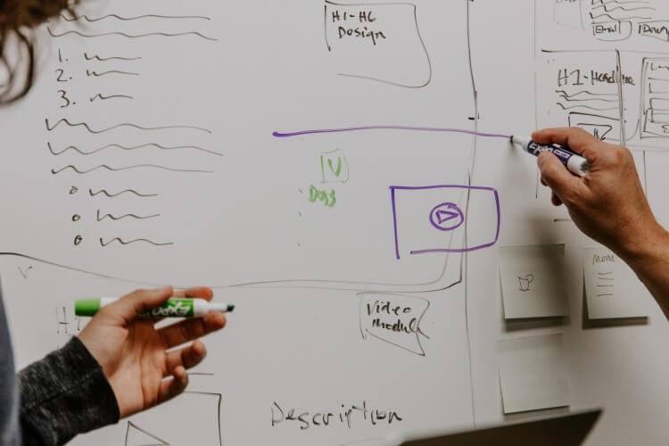 Pessoas desenhando soluções em um quadro branco.