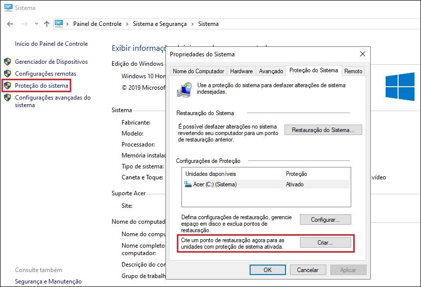 Tela de criação de ponto de restauração do Windows 10.