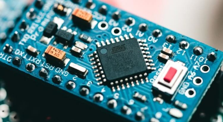 Detalhe de uma placa de circuitos.