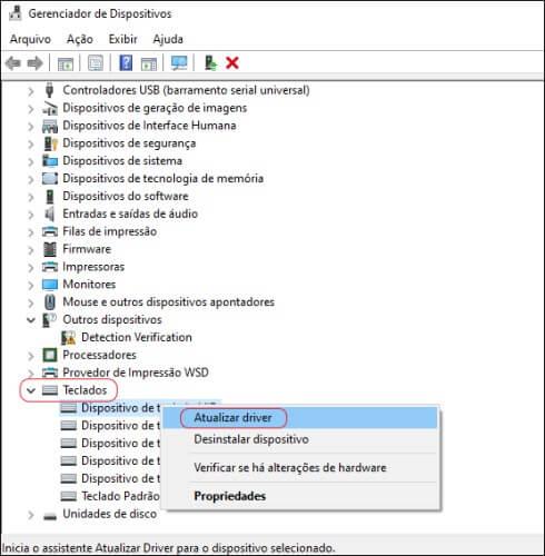 Tela do Gerenciador de Dispositivos do Windows.