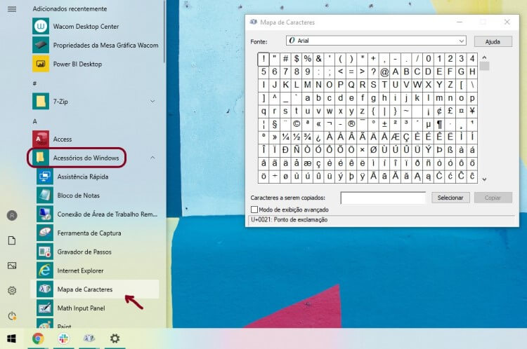 Screenshot da tela de aplicaativos do Windows, com o Mapa de caracteres aberto e em destaque.