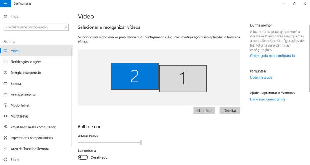 Configurações de vídeo do Windows.