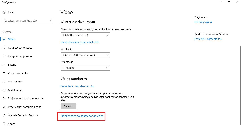 Janela de propriedades do adaptador de vídeo do Windows.