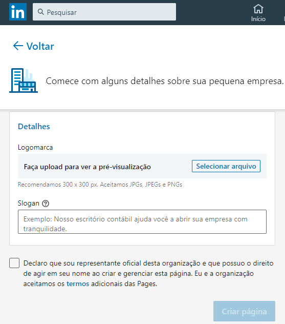 Screenshot do site do LinkedIn.