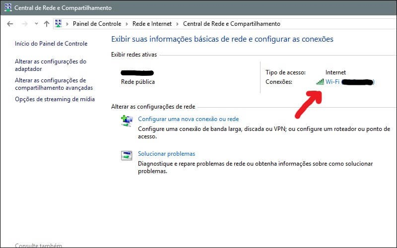Screenshot da tela de conexões do Windows.