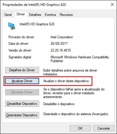 Tela de propriedades do driver de vídeo no Windows.