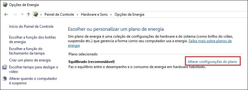Tela de Opções de Energia do Windows.