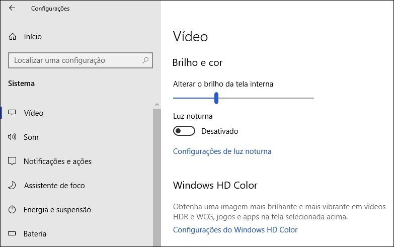 Tela de ajustes de vídeo nas configurações do Windows 10.
