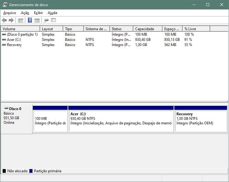 Tela do Gerenciador de Disco do Windows 10.
