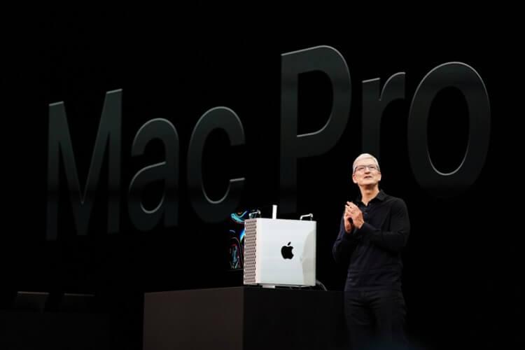 Foto de Tim Cook e o Mac Pro na WWDC 2019.