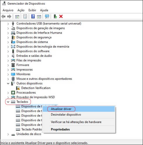 Tela do Gerenciador de Dispositivos do Windows.
