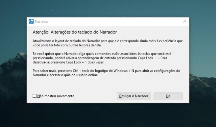 Screenshot da tela do Narrador do Windows.