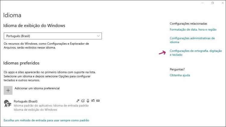 Tela de configurações de idioma do Windows 10.
