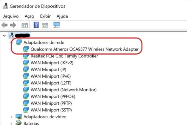 Screenshot do Gerenciador de Dispositivos, com destaque aos adaptadores de rede.