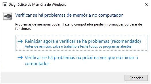 Diagnóstico de Memória do Windows.