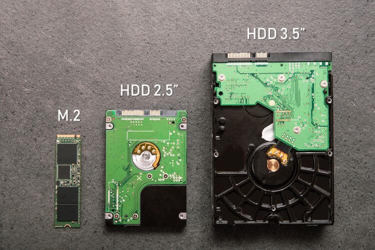Três SSDs lado a lado: M.2, 2,5 e 3,5 polegadas.