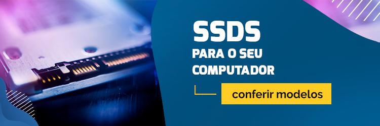 """Banner com imagem de um ssd e frase """"ssds para o seu computador - conferir modelos""""."""